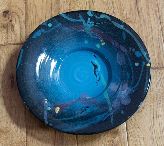 14-inch plate with brush-on glaze decoration