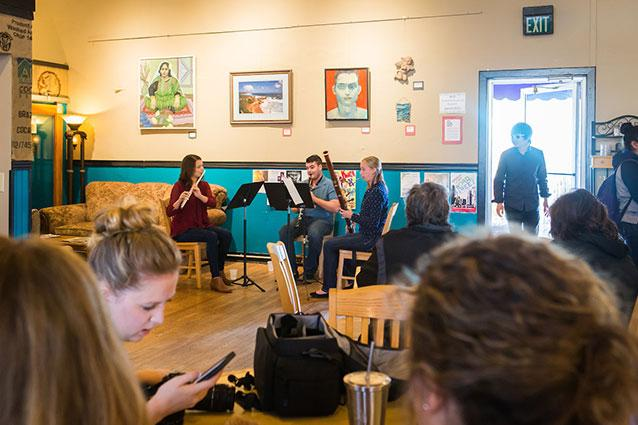 Woodwind trio at a local coffee shop