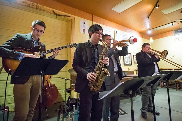 Jazz ensemble at a local brewery