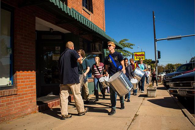 Percussion ensemble taking over the streets of Greeley