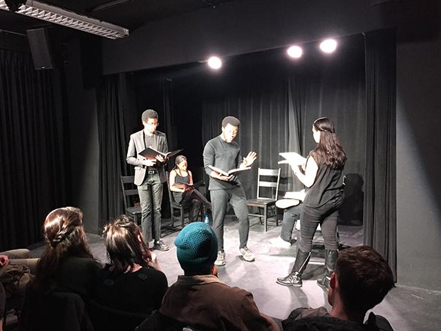 STAD actors Michael Crawford, Princeton Bolton, and Lizzie Powers reading a scene from Reginald Edmund's award-winning South Bridge.