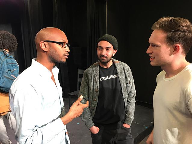 Playwright Reginald Edmund and Director Nate Whitehead meeting the audience after the Underground Theatre Project's staged reading of Edmunds' award-winning South Bridge on February 7, 2018.