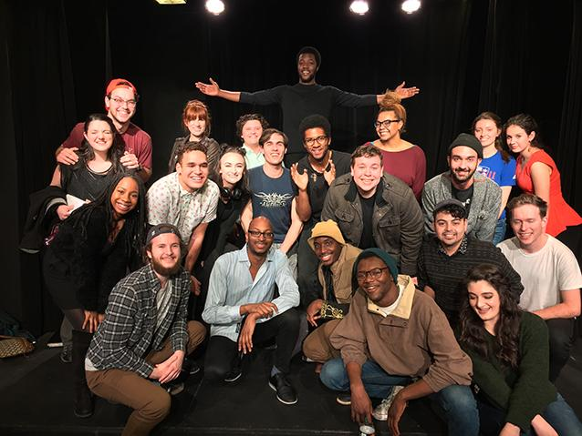 Many STAD students attended the Underground Theatre Project's staged reading of Reginald Edmund's award-winning South Bridge on February 7, 2018. Reggie is in light blue kneeling in front.