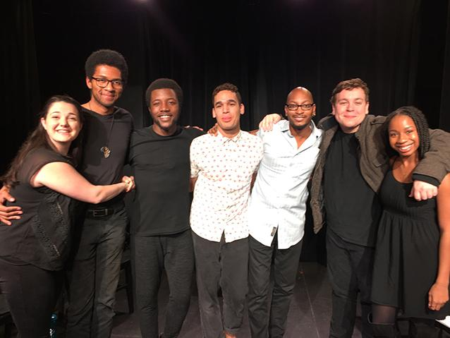 The cast, director, and playwright of Reginald Edmund's award-winning South Bridge, after a staged reading by Underground Theatre Project.