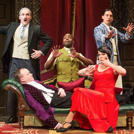 The Broadway company of Mischief Theatre's 'The Play That Goes Wrong'