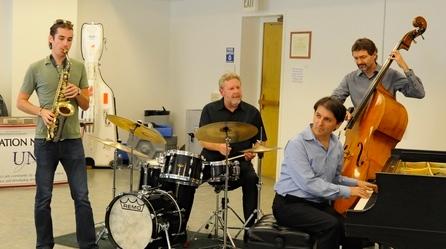 Student Gabe Scheid performs