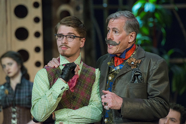 Two steampunk-style characters in the play Major Barbara